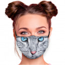 Adjustable motif masks multicolor cat