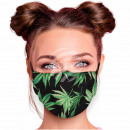 Adjustable motif masks black hemp floral