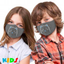 Printed children's masks with gray comic cat p