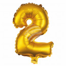 Foil balloon helium balloon gold number 2