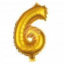 Foil balloon helium balloon gold number 6