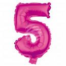 Foil balloon helium balloon pink number 5