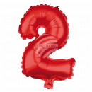 Foil balloon helium balloon red number 2