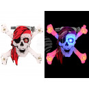Spilletta luce LED bianco rosso teschio pirata