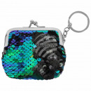 Wallet blue green  sequin design approx. 7 cm