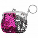 Wallet fuchsia  sequin design approx. 7 cm