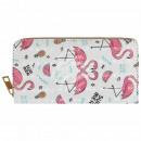Purse wallet cream multicolor flamingo