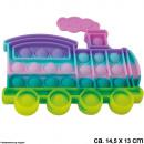 Großhandel Spielwaren: Bubble Toy Pastell Lokomotive ca. 14,5 cm x 13 cm