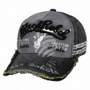 Vintage Retro Distressed Cap Gray Black Rebel One
