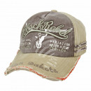 Vintage Retro Distressed Cap Beige Black Rebel One