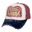 Vintage Retro Distressed Cap Red White Blue Motors