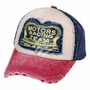 Vintage Retro Distressed Trucker Cap weiss rot
