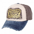 Vintage retro distressed cap brown blue white