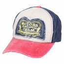Vintage retro distressed cap blue white pink engin