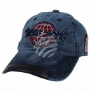 Vintage Retro Distressed Trucker Cap Blue New York