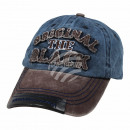 Vintage Retro Distressed Trucker Cap Blue Brown