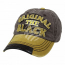 Vintage Retro Distressed Trucker Cap Gray Yellow