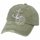 Vintage Retro Distressed Trucker Cap Green Anchor