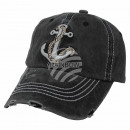Vintage Retro Distressed Trucker Cap Black Anchor