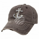 Vintage Retro Distressed Trucker Cap Brown Anchor