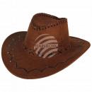 Großhandel Spielwaren: Cowboyhut Zick Zack Muster  braun