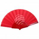 Fächer Faltfächer rot einfarbig Länge ca. 23 cm