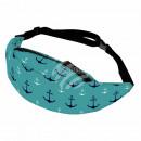 Großhandel Handtaschen: Gürteltasche Hipbag Anker maritim grün