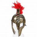 Roman helmet gold red comb and movable visor