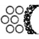 100 Spiral opaski  do włosów czarny, star, Ø 5 cm