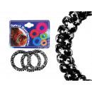Großhandel Drogerie & Kosmetik: Spiral-Haargummis schwarz, Sterne, Ø ca. 5 cm, 3 S