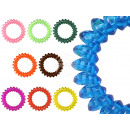 100 Spiral hair bands colorful transp. Ø 5 cm