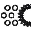 Großhandel Drogerie & Kosmetik: 100 Spiral-Haargummis schwarz, Ø ca. 3cm