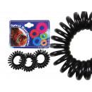 Großhandel Drogerie & Kosmetik: Spiral-Haargummi schwarz, Ø ca 3 cm, 3 Stk Hänger