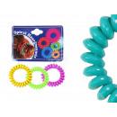 Großhandel Drogerie & Kosmetik: Spiral-Haargummi mehrfarbig, Ø ca. 4 cm, 3 Stk Hän