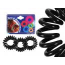 Spiral hair rubber black, Ø ca. 2 cm, 3 pcs hanger