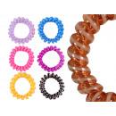 Großhandel Drogerie & Kosmetik: Spiral-Haargummi bunt transp., Streifen, Ø ca. 3cm