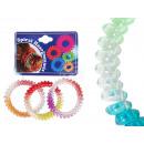 Spirala gumowa  włosy kolorowe, transp., Farbver.,