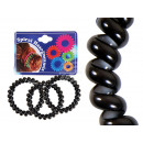 Großhandel Drogerie & Kosmetik: Spiral-Haargummi schwarz, weiß Innen, Ø ca. 4 cm,