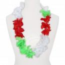 Hawaiian bloem ketting luxe rood, groen, wit