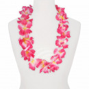 Hawaiian bloem ketting roze-wit-blauw