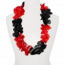 Hawaii Blumenkette Luxus schwarz rot