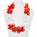 Hawaii Blumenkette MAXI rot weiß Länge: ca. 100 cm