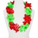 Hawaii Blumenkette MAXI rot grün Länge: ca. 100 cm