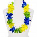 Hawaii Blumenkette MAXI blau gelb grün