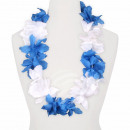 Hawaii Blumenkette MAXI blau weiß
