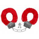 Karneval Fasching Handschellen mit Plüsch rot