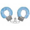 Karneval Fasching Handschellen mit Plüsch blau