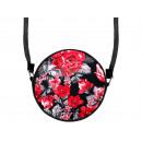 Round Scene Handbag Design: Red Flowers