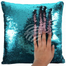 Sequin pillow turquoise pink approx. 40 cm x 40 cm