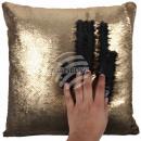Sequin Cushion Gold Black approx. 40 cm x 40 cm